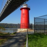 The little red lighthouse below the great gray bridge on a fall day, 2011