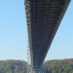The underside of the great gray bridge.