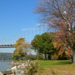 The shoreline of upper Manhattan, looking north to the bridge.