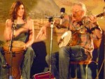 Zoë Stampfel on the djumbe, with her father, Peter on banjo.
