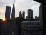 The Manhattan skyline from the rooftop of the Midtown loft.