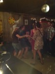 CarrieG., in engineer&#039;s cap, joined C-Mac on the dance floor during Jeremy Fisher&#039;s set.