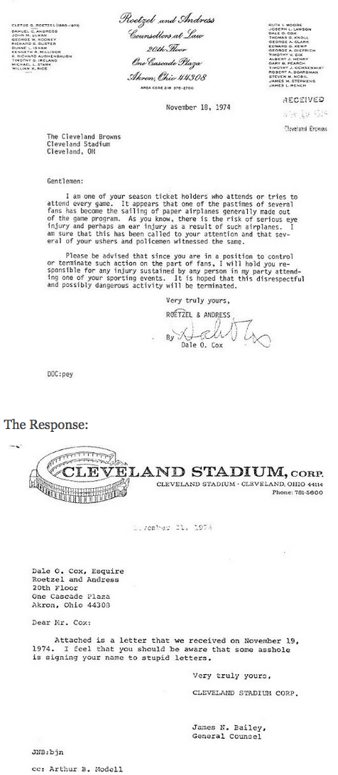 Would a lawyer today dare send such a funny profane letter cleveland browns letters altavistaventures Gallery