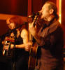 Rob Meador, mandolin (far left); Deni Bonet, accordion; Marc Berger.