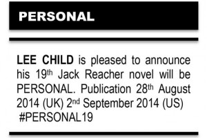 New Jack Reacher novel, PERSONAL