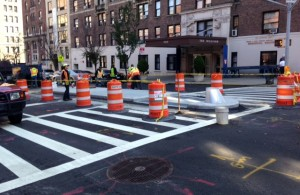 New pedestrian islands on West End Ave