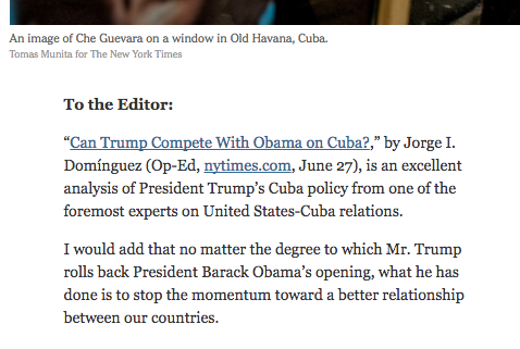 vicki huddleston former top us diplomat on cuba on the letters page of the ny times